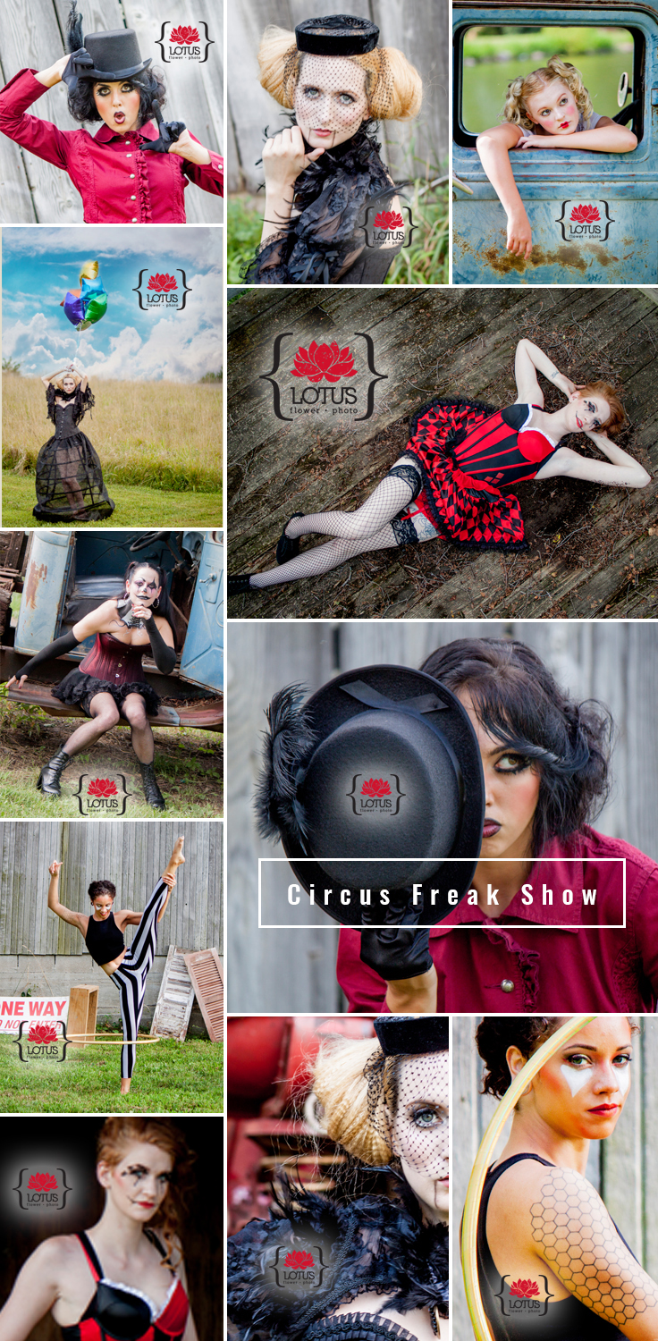 Circus freak show shoot with wonderful and talented hair and makeup artists in Kansas City, MO